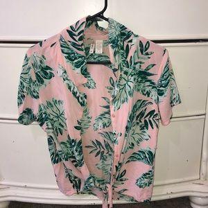 Button down cropped shirt